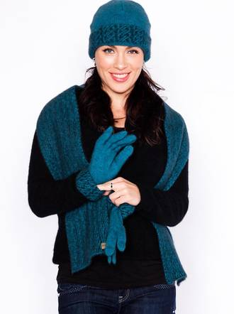 KO181, KO133 & KO67 Two tone cable beanie, scarf & gloves