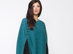 KO510 button trim poncho lagoon-700
